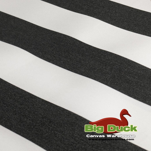 Outdoor Fabric for Awnings/Marine Use-Black/White Striped SeaDuck 10YR Warranty
