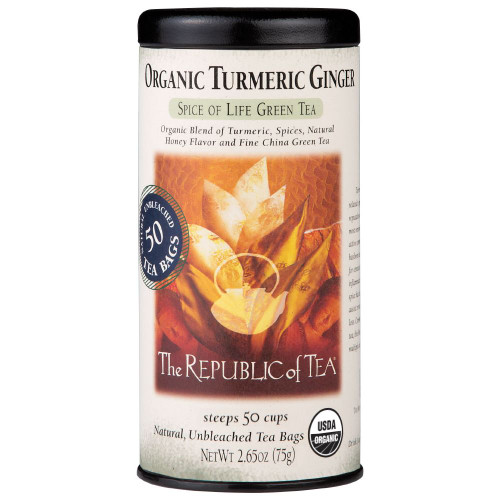 Republic Organic Turmeric Ginger Green Tea Bags 50ct.