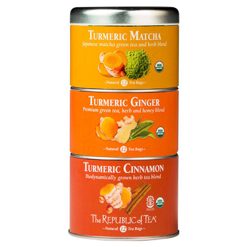 Republic Organic Turmeric Stackable Tea Tin Tea Bags 36ct.