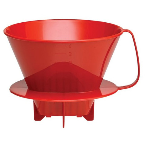 Fino Pour-Over Coffee Brewing Filter Cone, Number 4-Size, Red