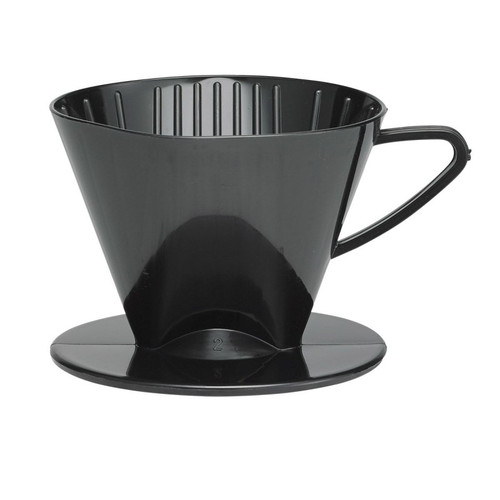 Fino Pour-Over Coffee Brewing Filter Cone, Number 2-Size, Black