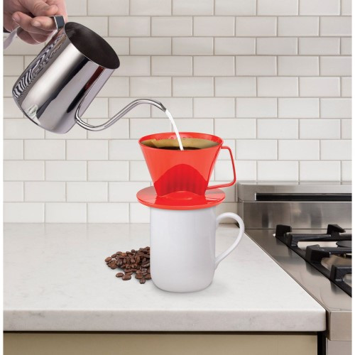 Fino Pour-Over Coffee Brewing Filter Cone, Number 1-Size, Red