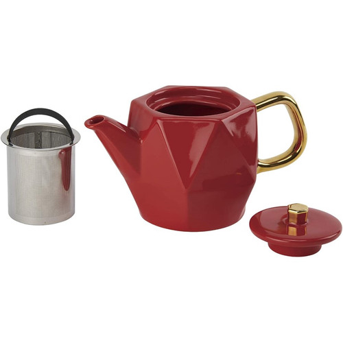CasaWare Hex Red Teapot 24oz.