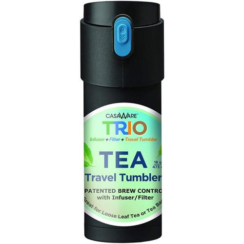 CasaWare Stainless Steel Trio Tea Infuser Travel Tumbler- 12oz Black