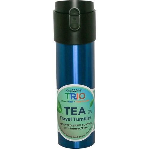 CasaWare Stainless Steel Trio Tea Infuser Travel Tumbler- 16oz Blue