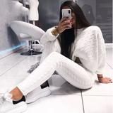 White Knit Pant Set