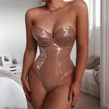 Nude PU bodysuit