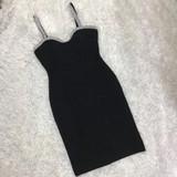 Black Crystal Trim Mini Dress