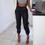 Leather Joggers - Black