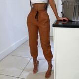 Leather Joggers - Tan