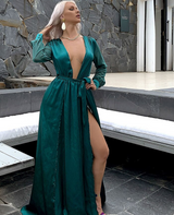 Emerald Satin Maxi Dress