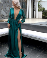 Emerald Satin Maxi Dress