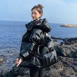 Shiny Puffer Coat Black