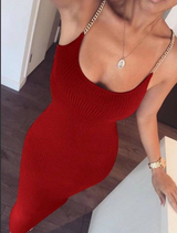 Chain Knit Dress Red