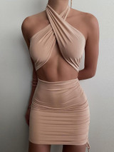 Heartbreaker Crossover Dress -Tan