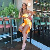 Megan Satin  Dress Orange