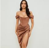 Brown Panel Dress