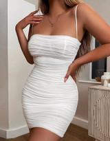 White Ruched Semi Sheer Dress