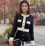Black & White Gold Button Sweater & Skirt Set