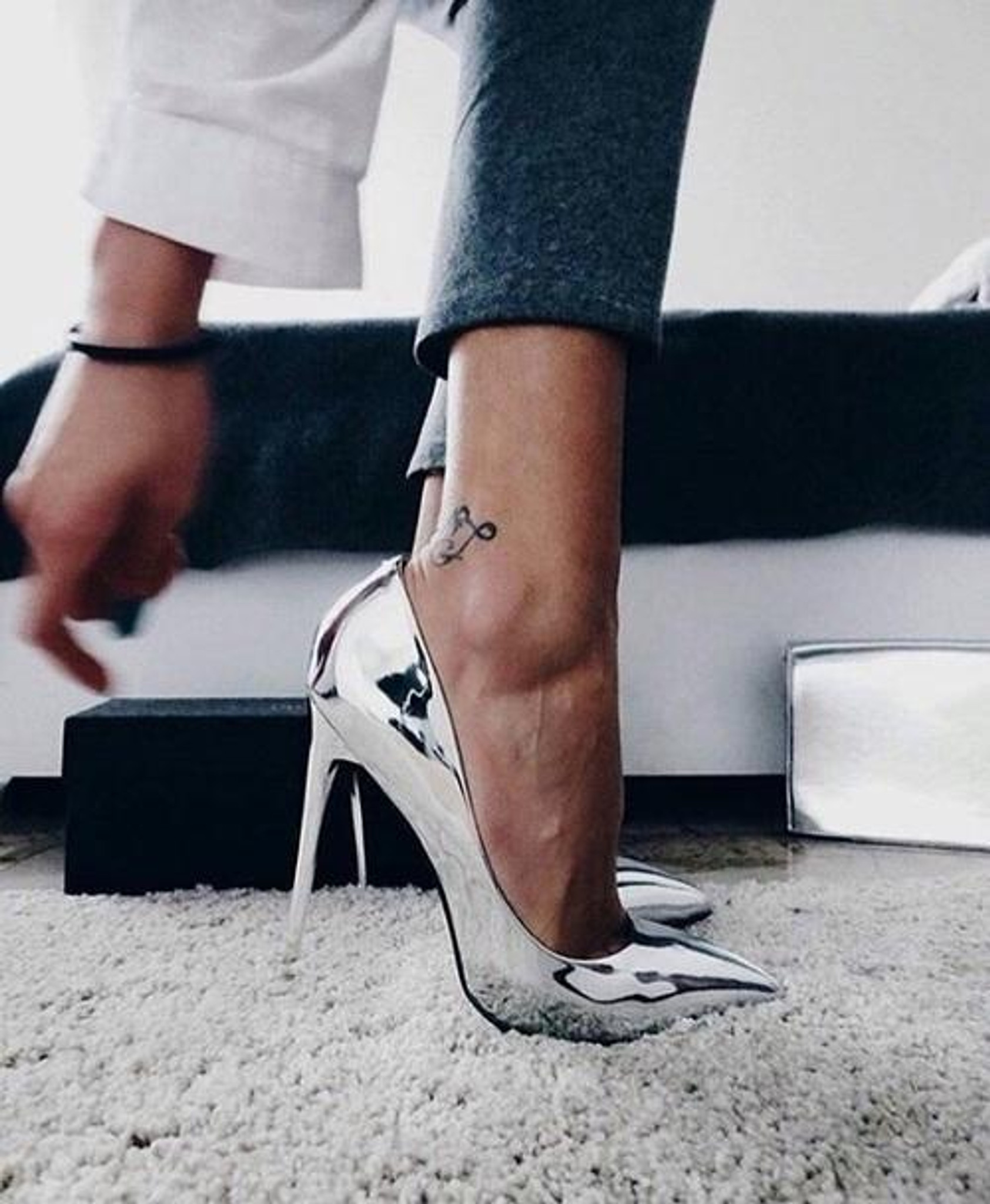 Metallic Silver Shoes