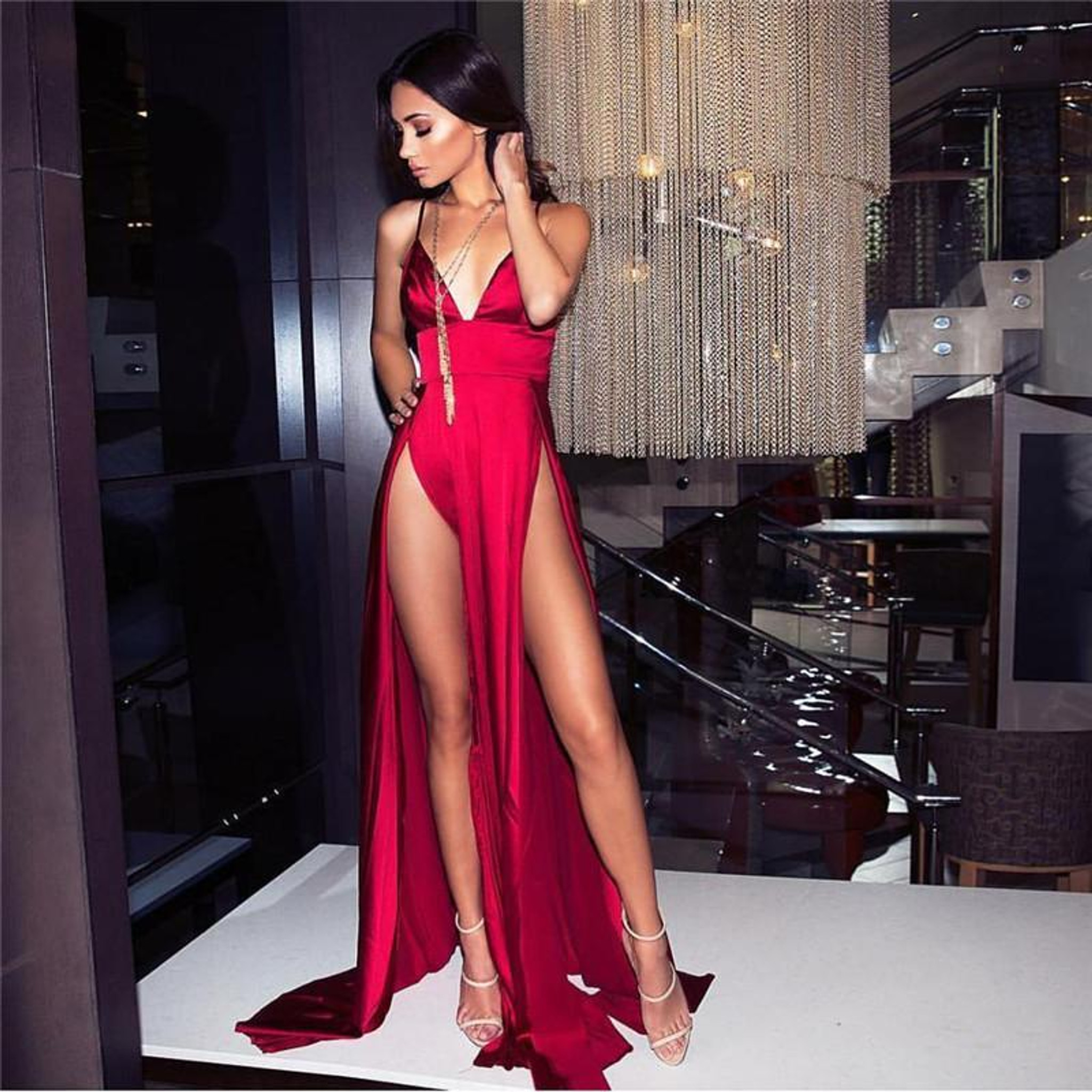 Satin Slit Dress