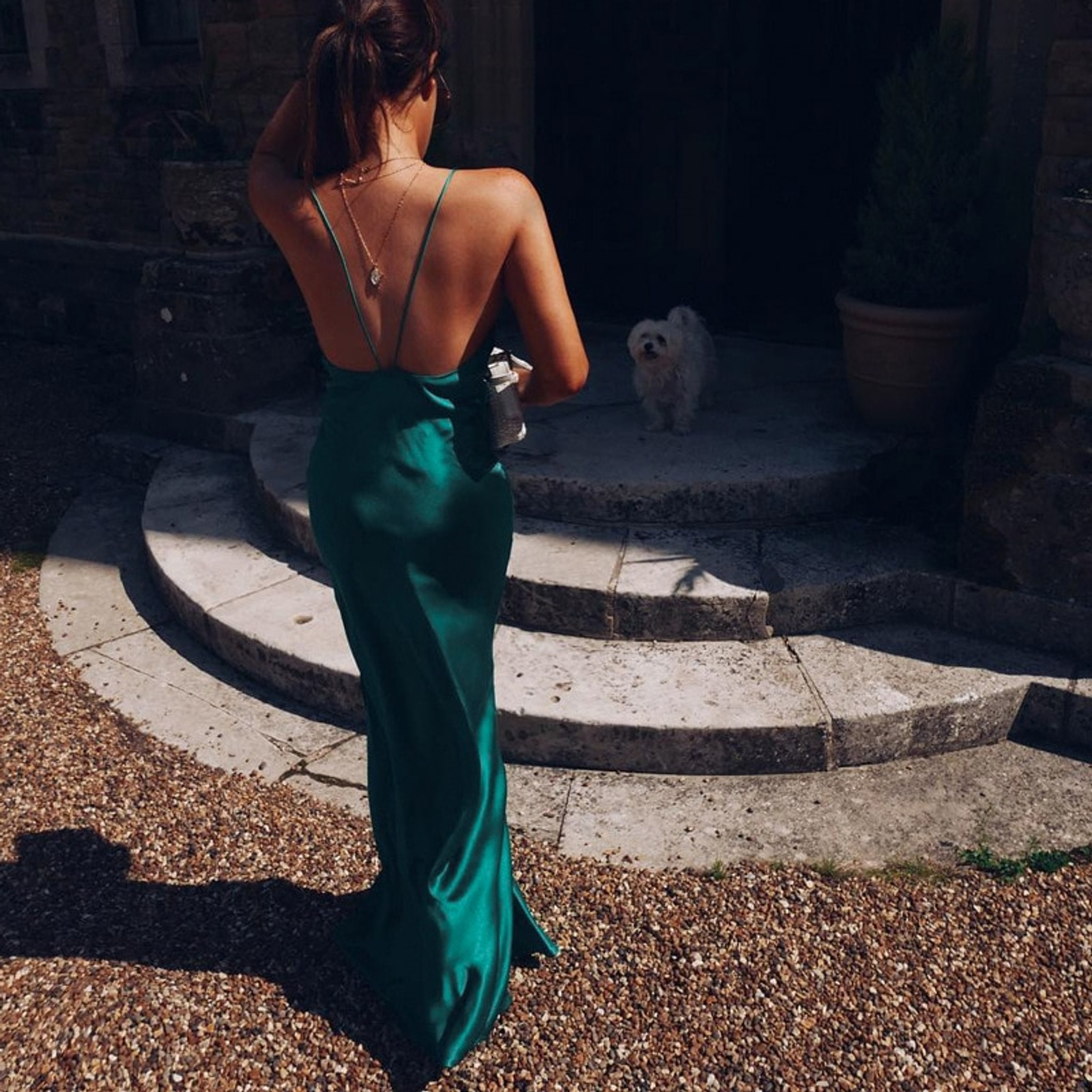 Satin Green Dress