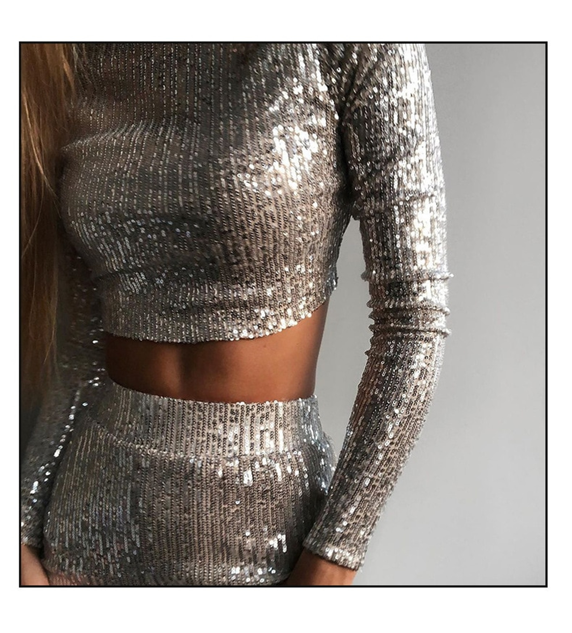 Silver Sequin Set