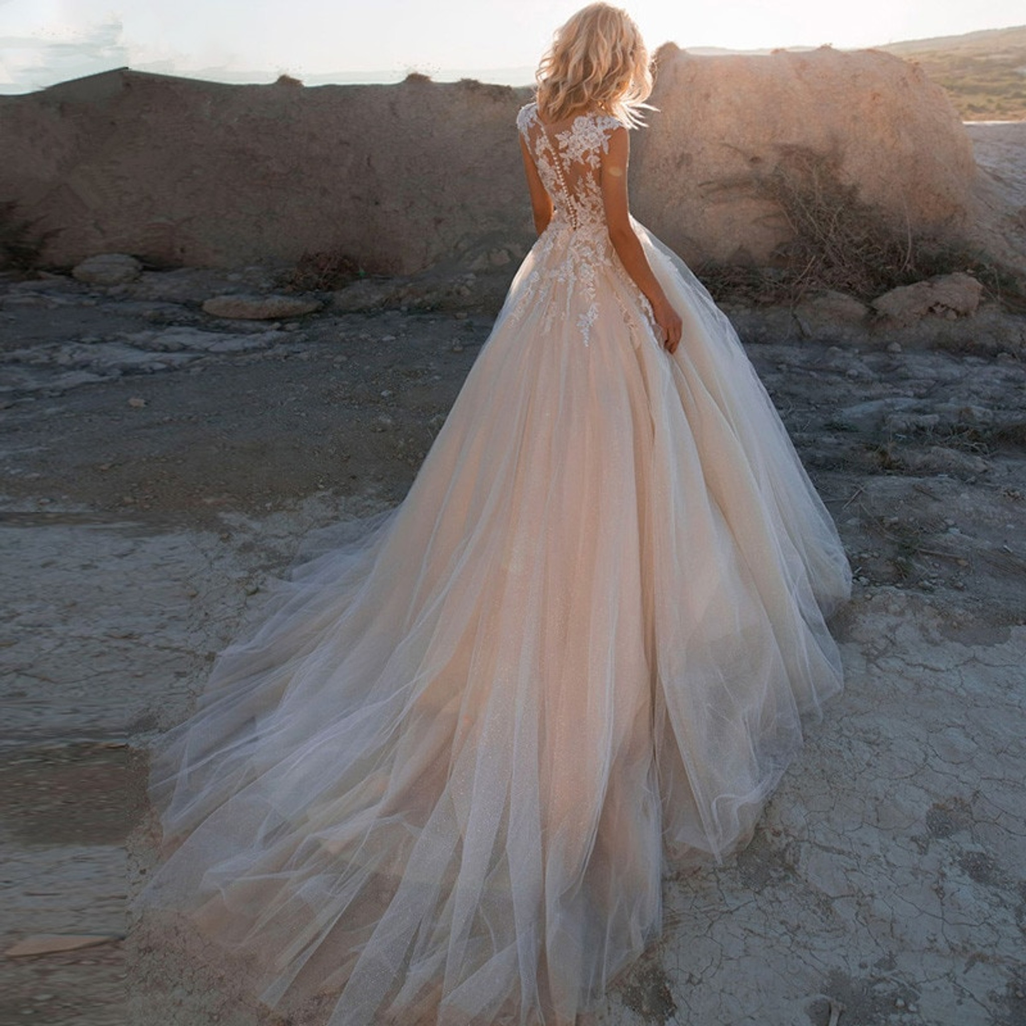 Blush Lace Wedding Dress