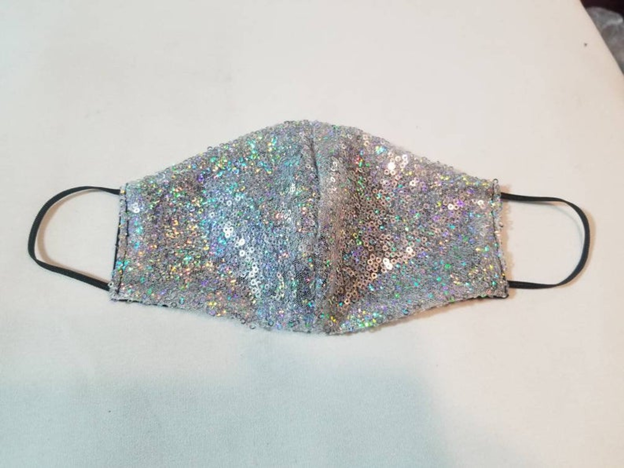 Silver Sequin Mask