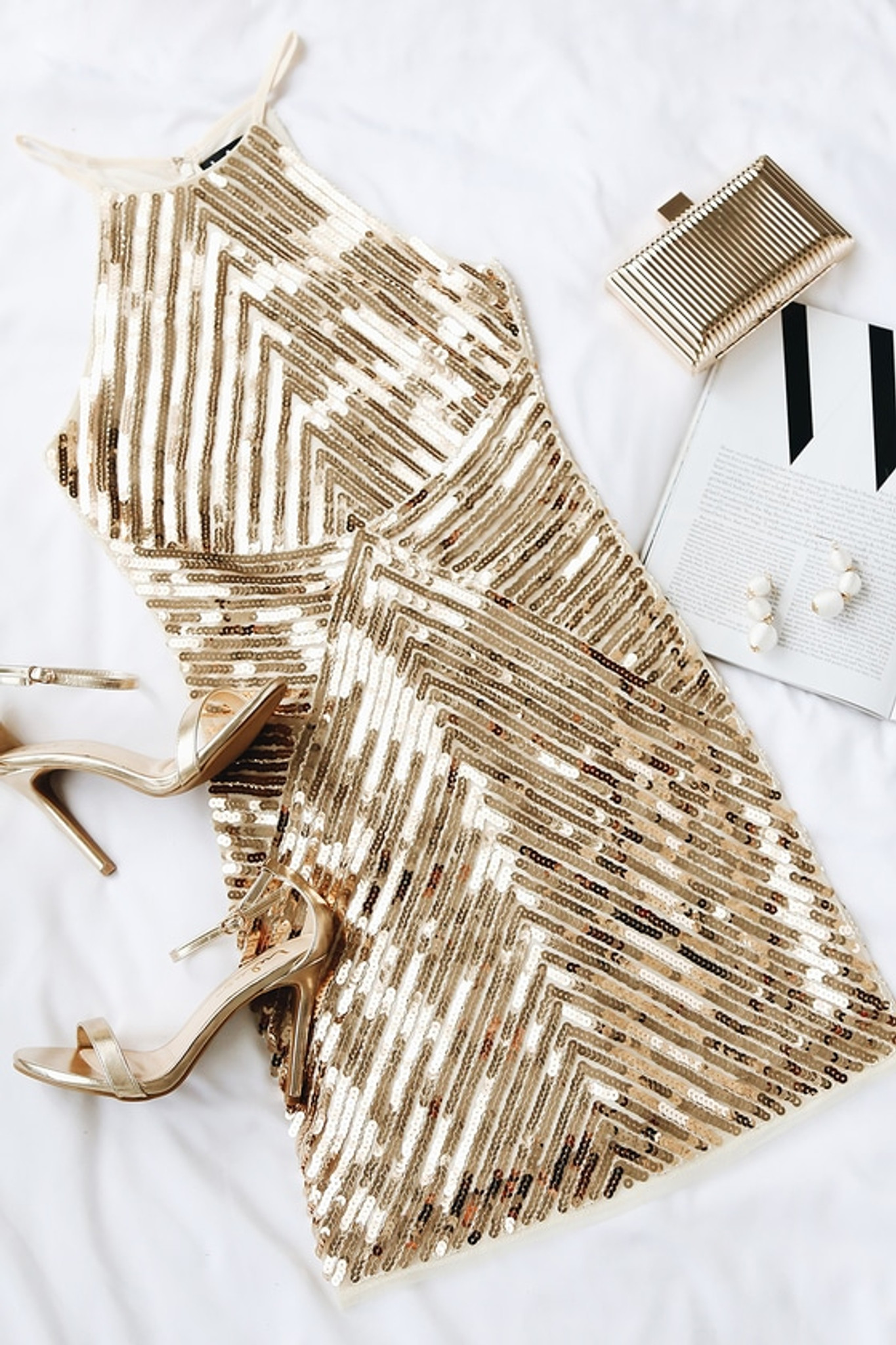 Gold Geo Halter Dress