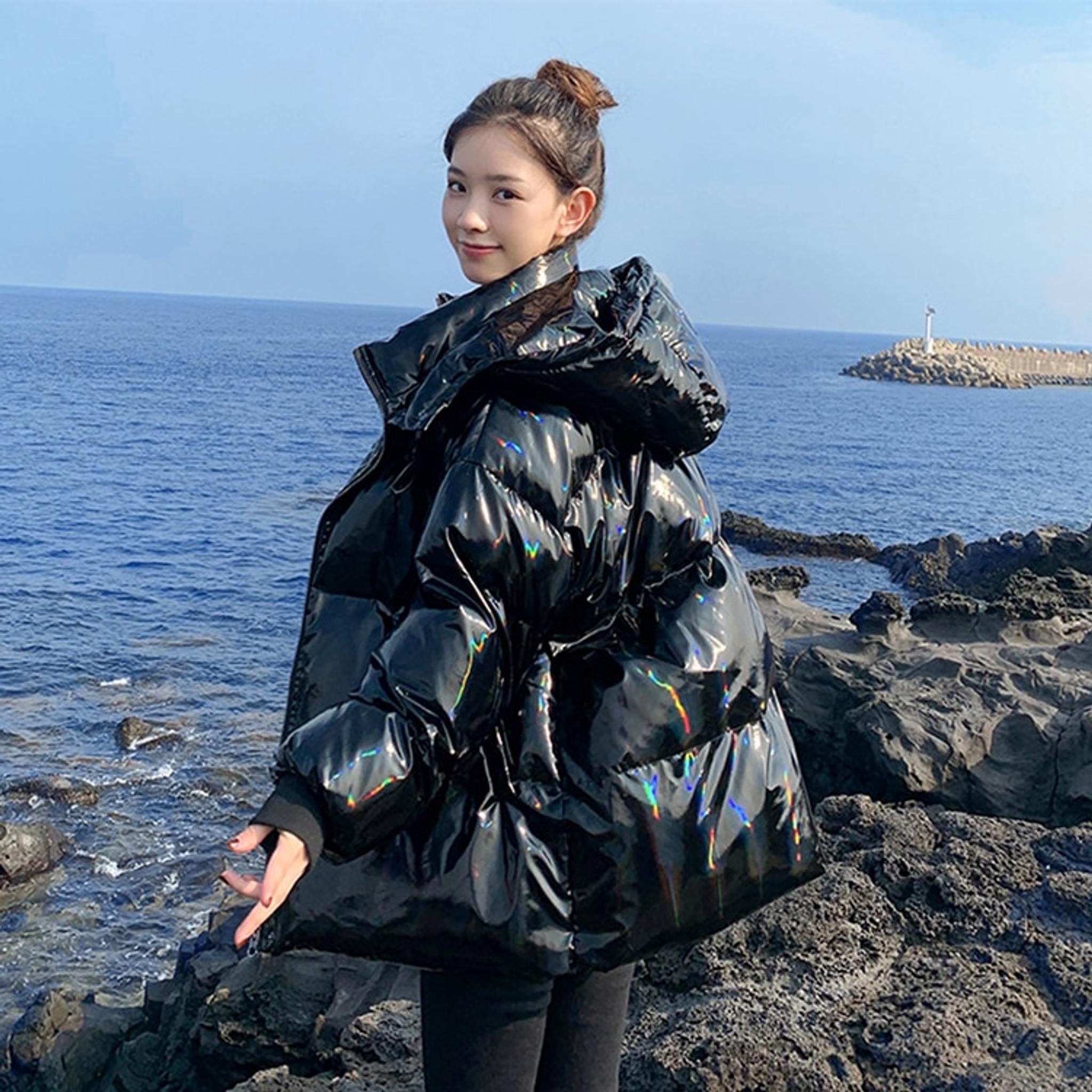 Shiny Puffer Coat Black