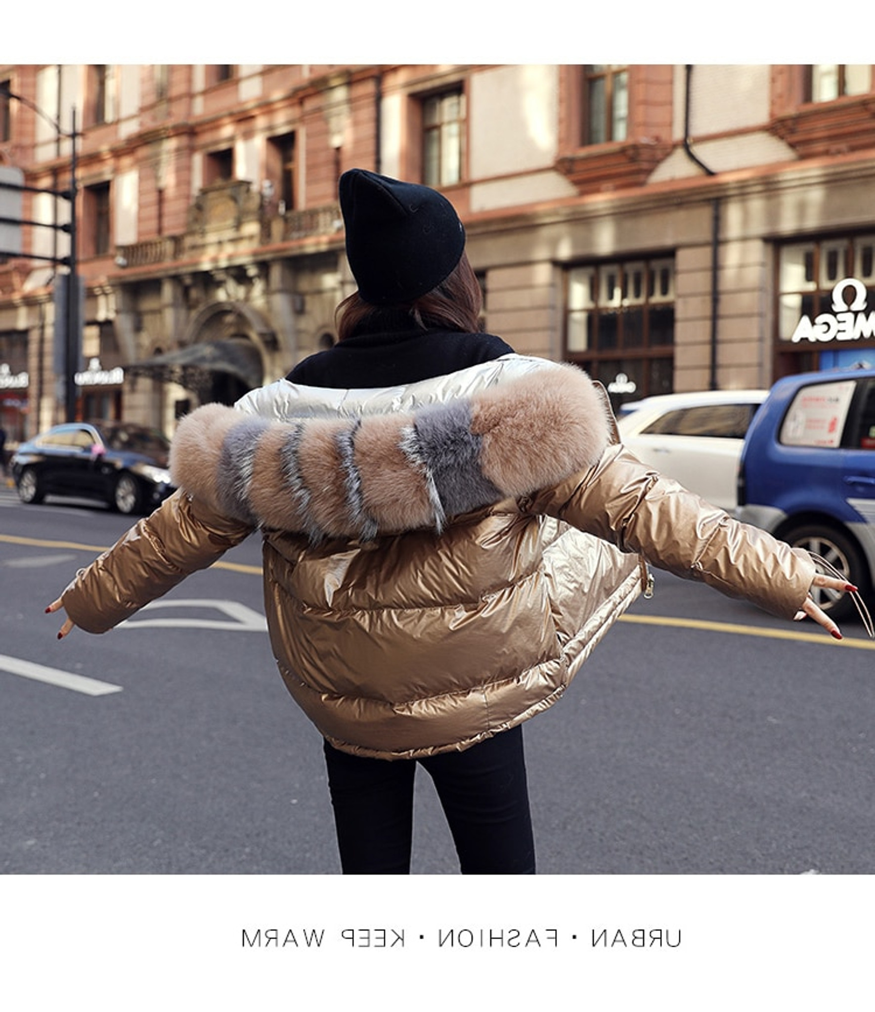 Gold Puffer Coat Fur Hood