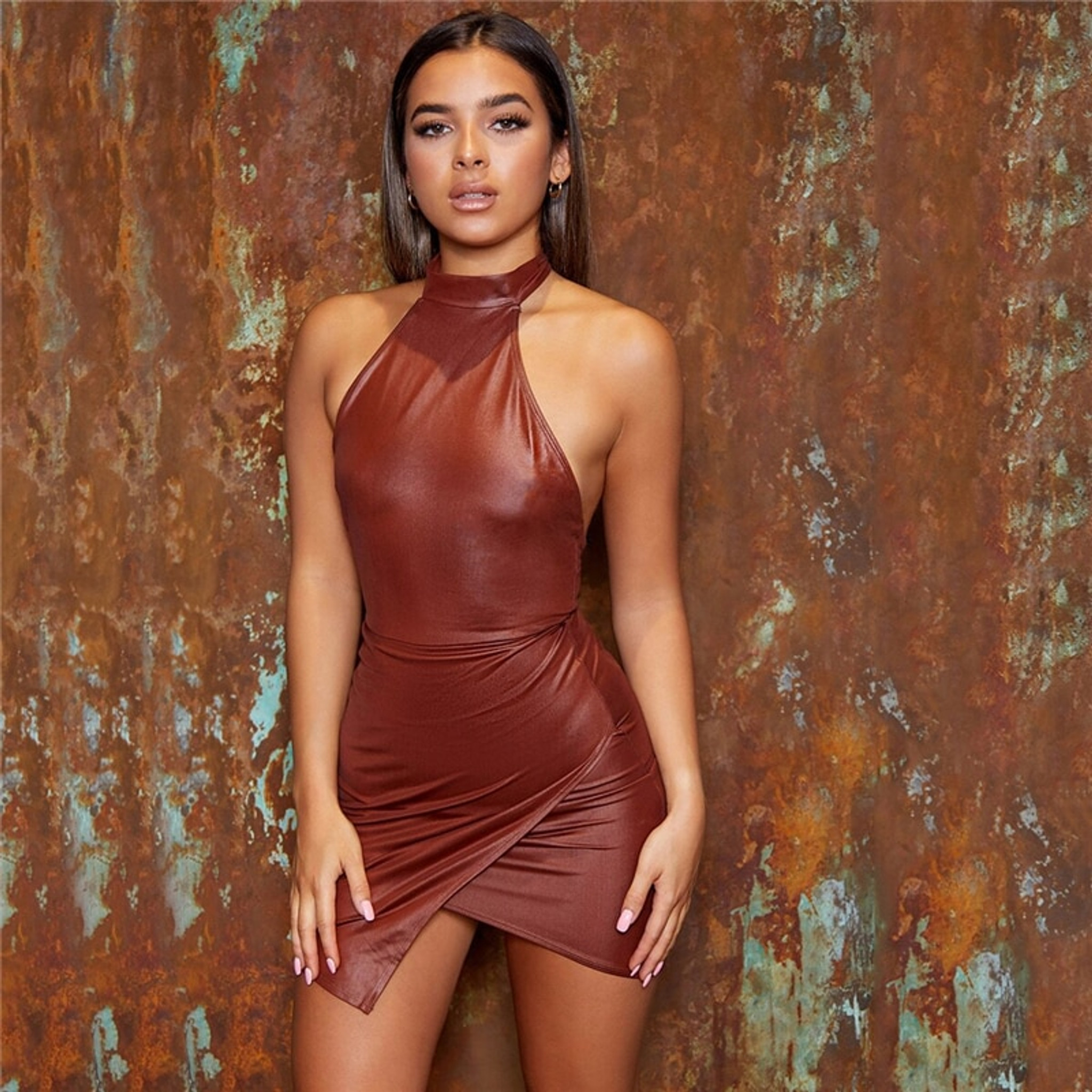 Halter Leather Dress