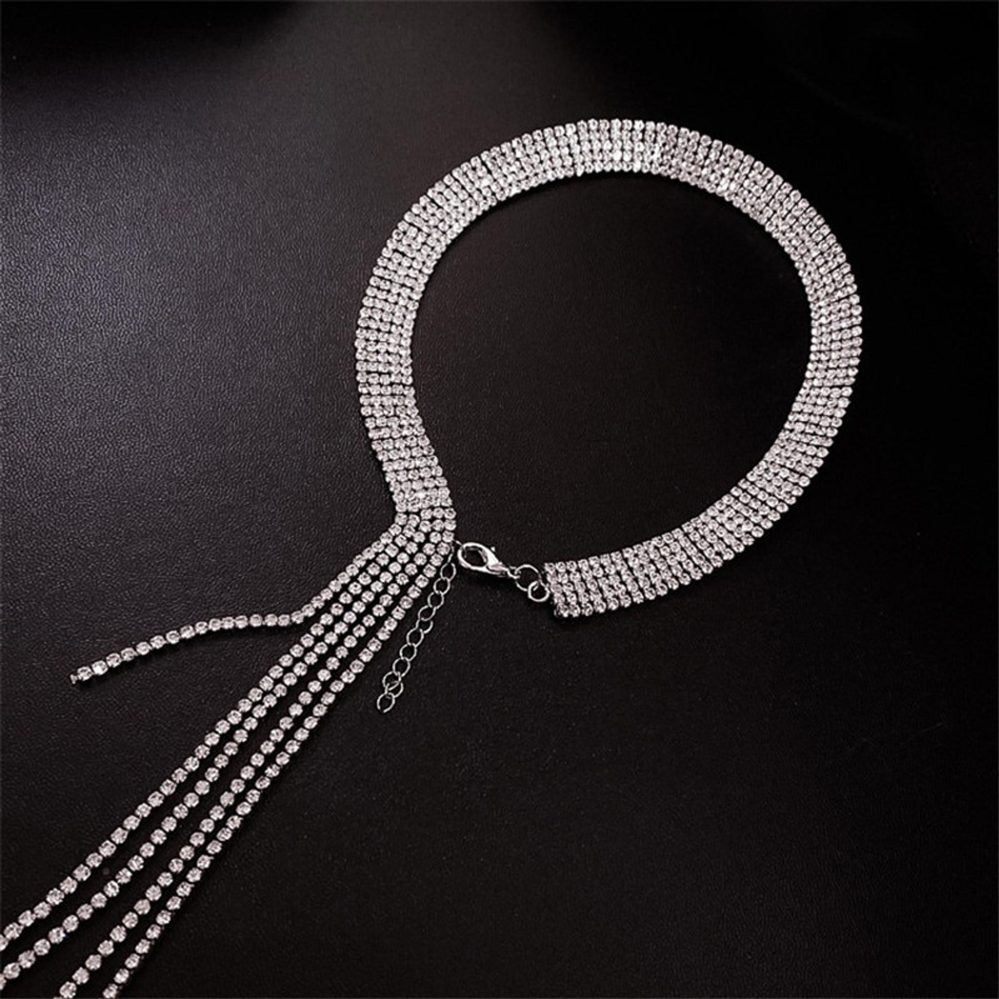 Drop Rhinestone Necklace