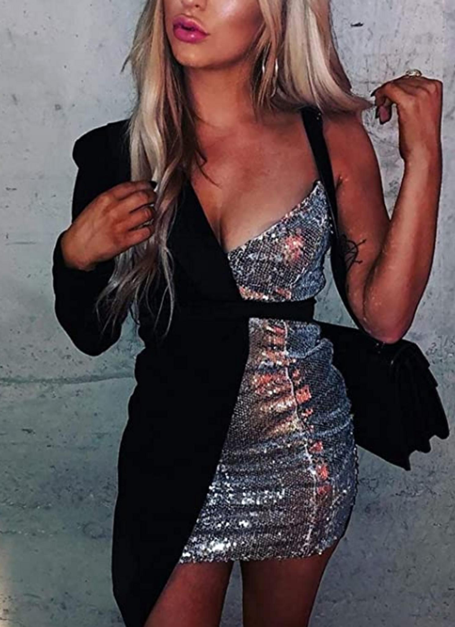 Silver Tuxedo Sweetheart Dress