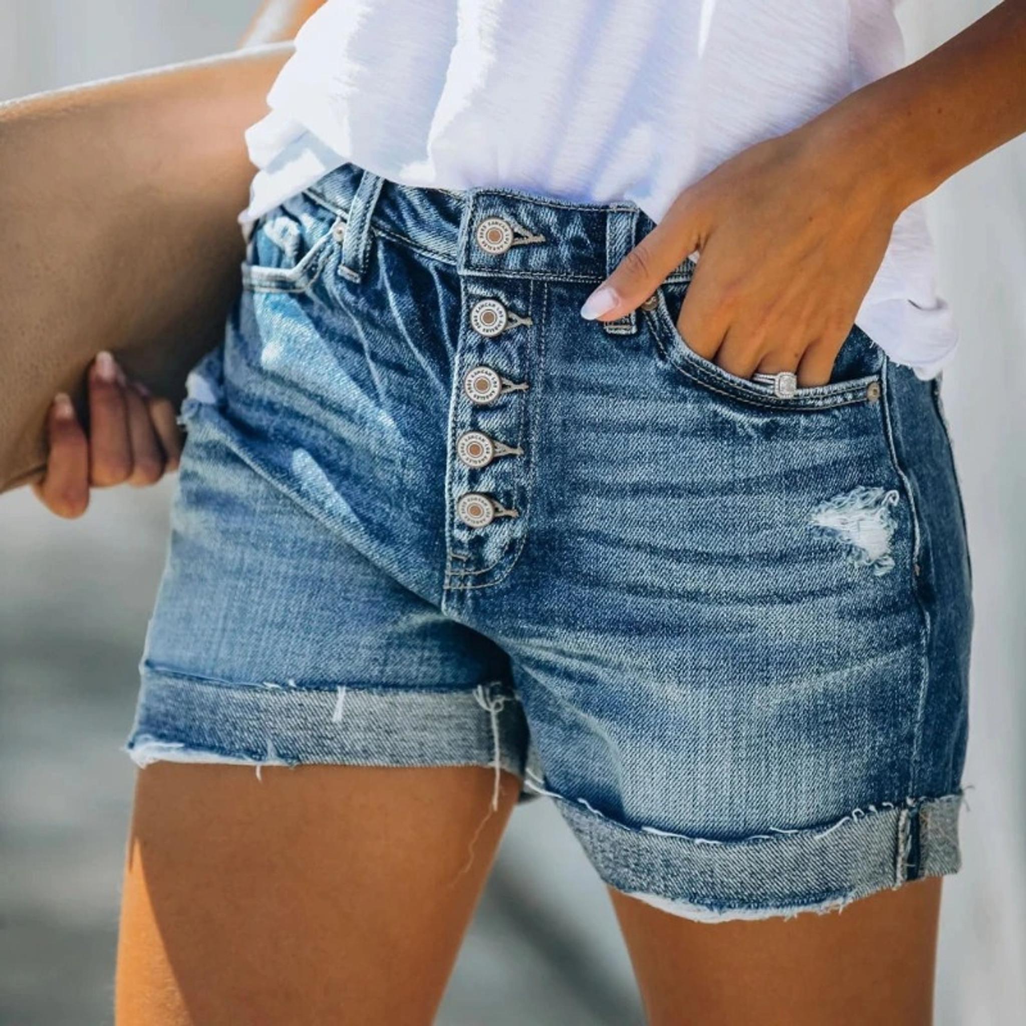 Button Up Denim Shorts