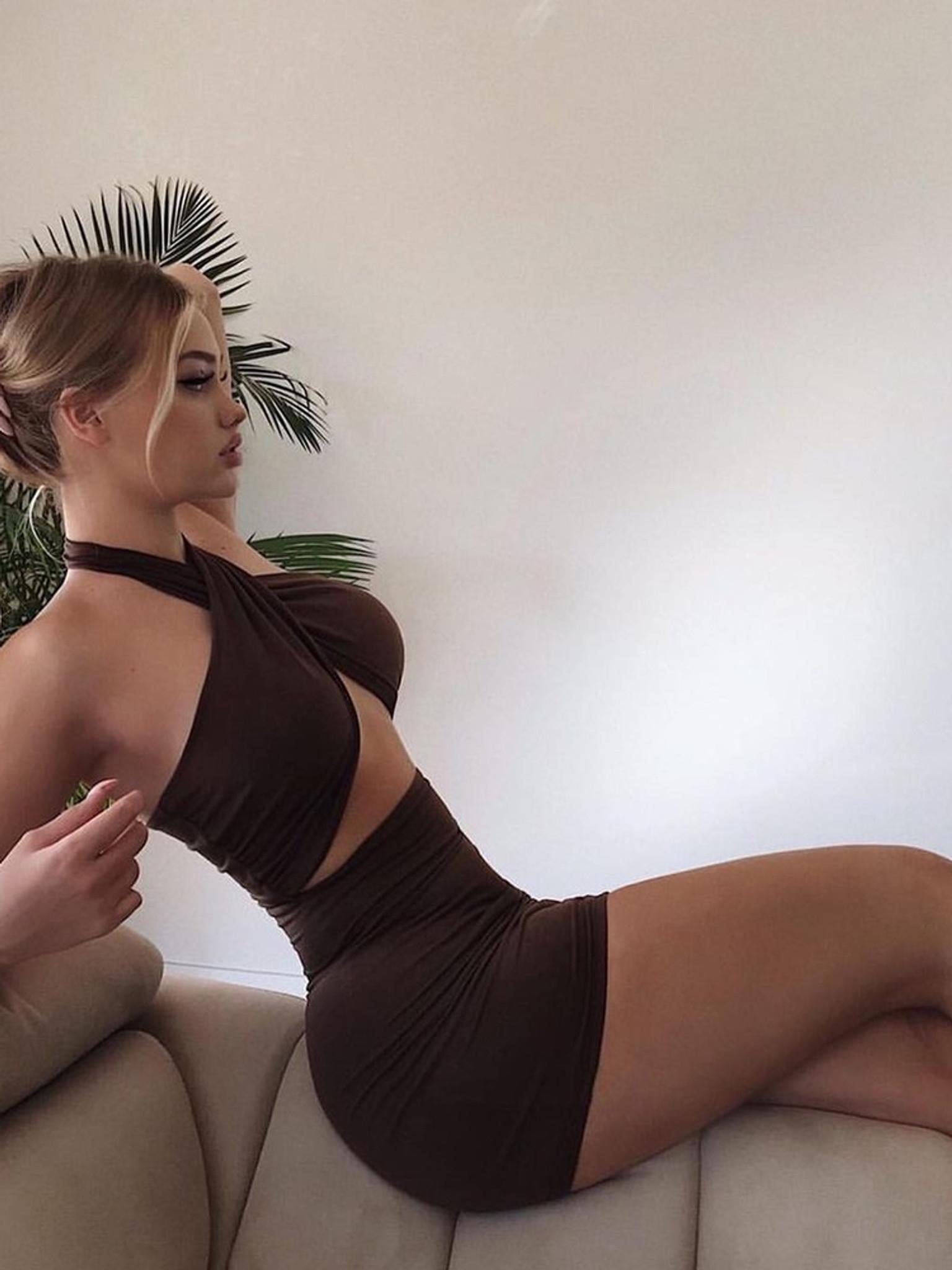 Heartbreaker Crossover Dress -Brown