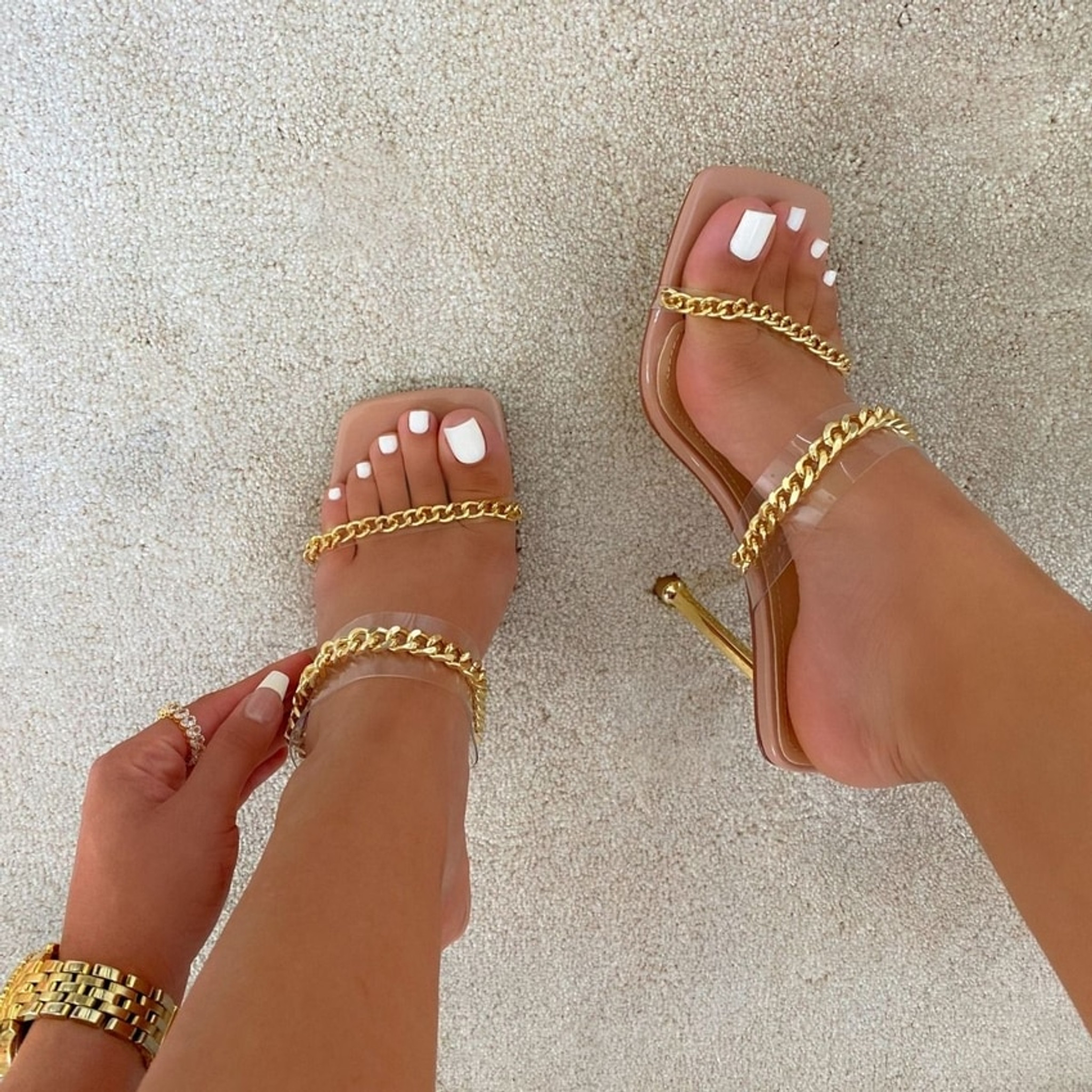 Chain Nude Pumps