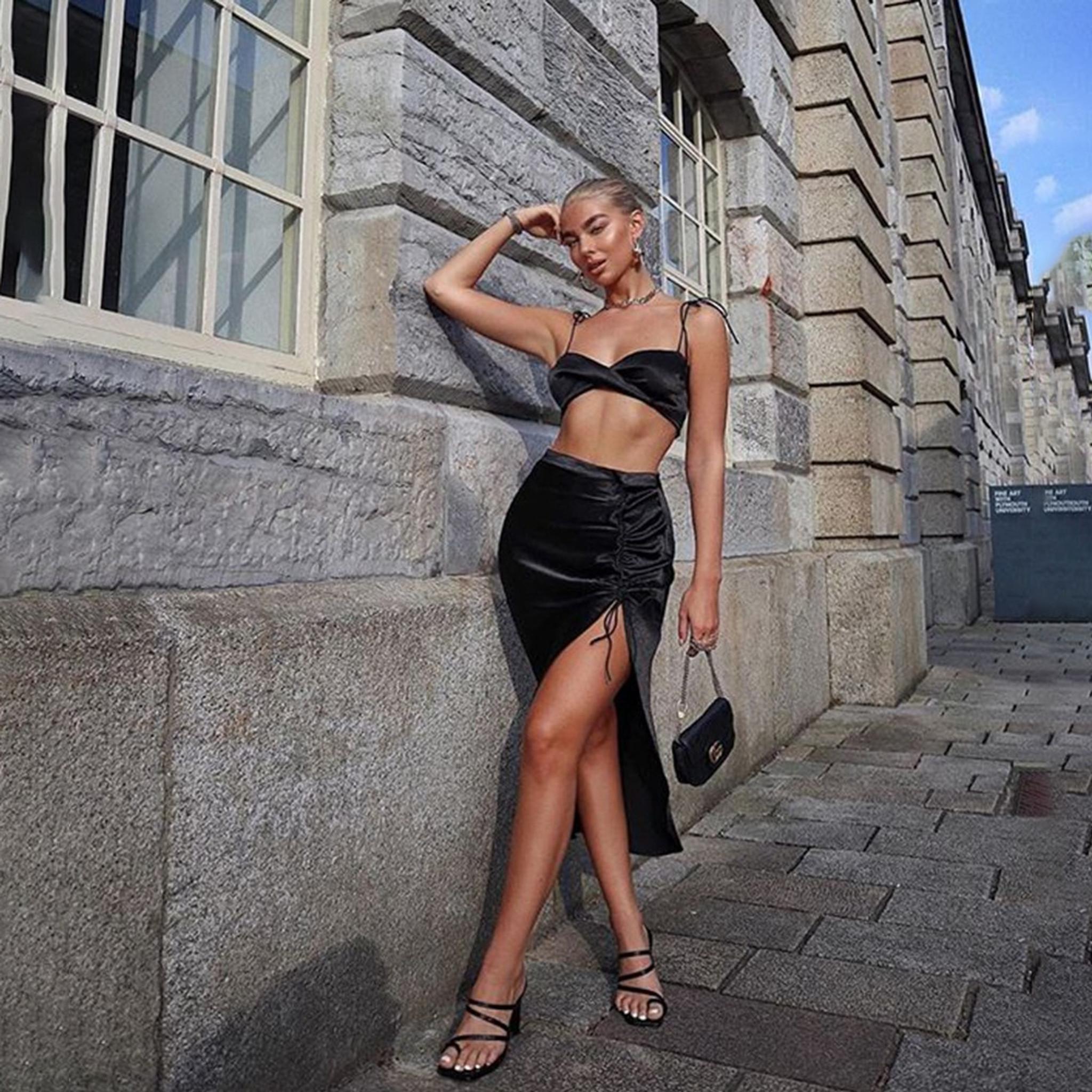 Megan Satin  Dress Black