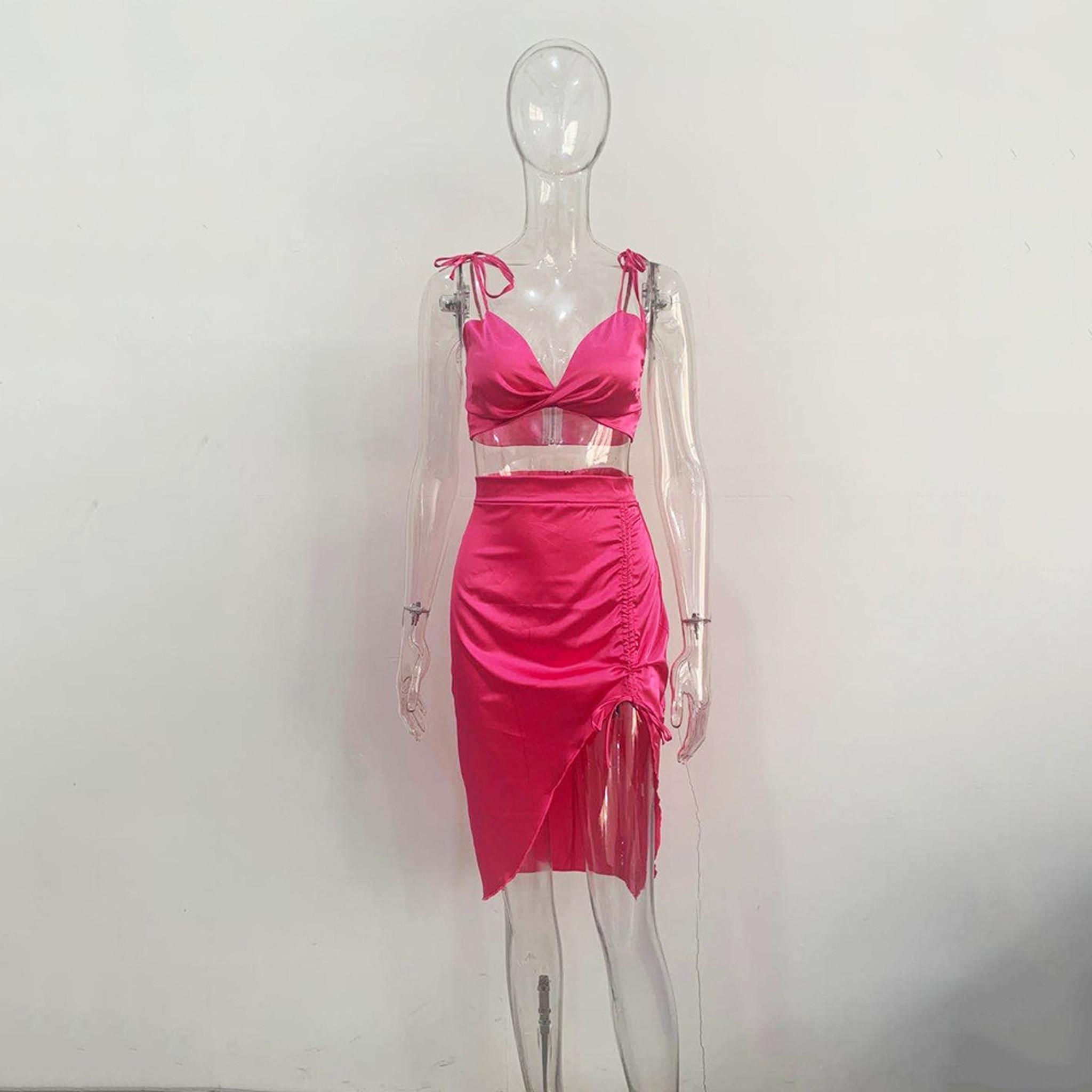 Megan Satin  Dress Pink