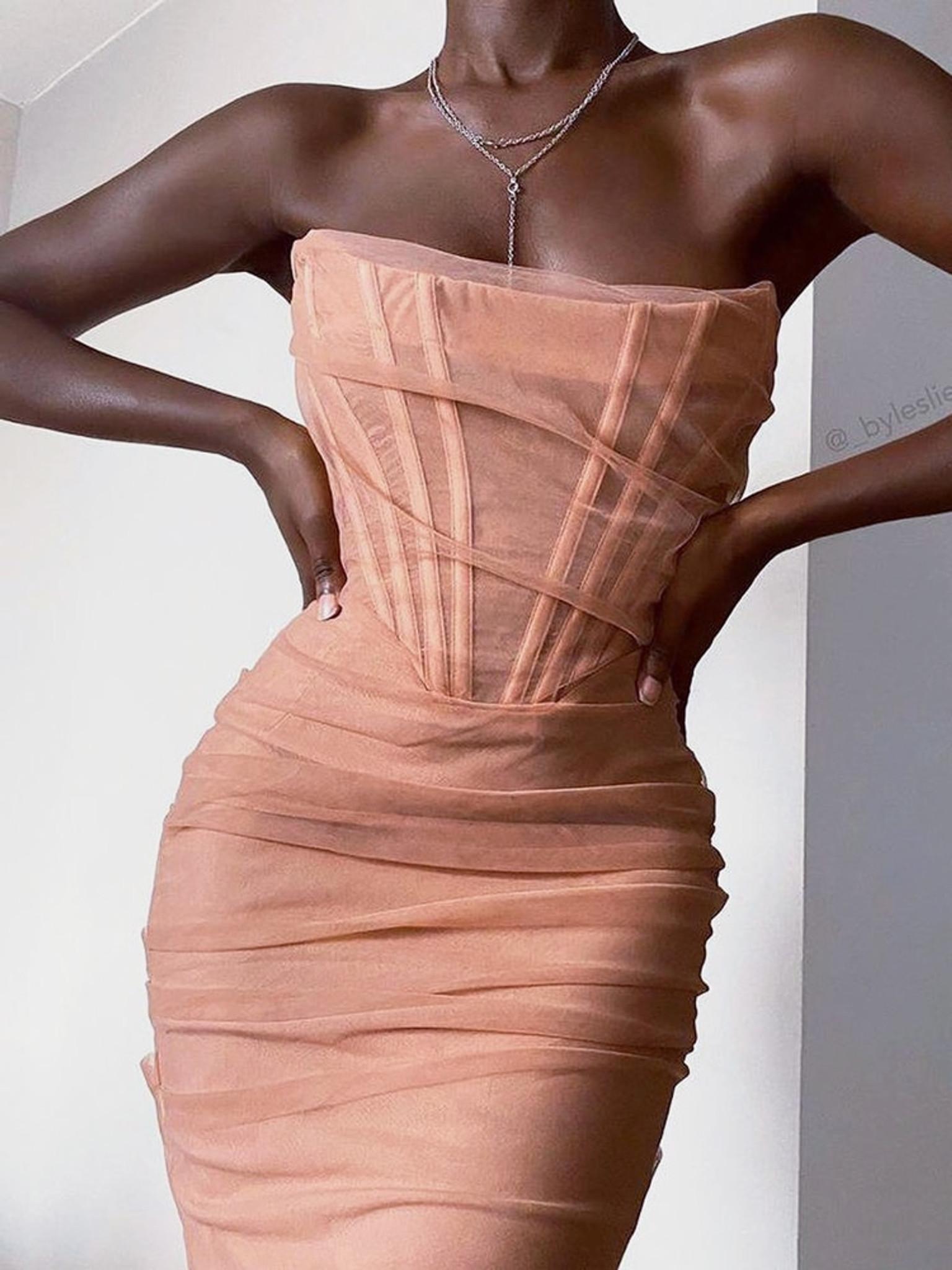 Sheer Panel Dress Nude