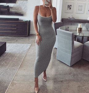 Grey Knit Maxi Dress