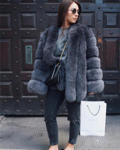 Jet Black Faux Fur Coat
