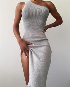 One Shoulder Knit Maxi