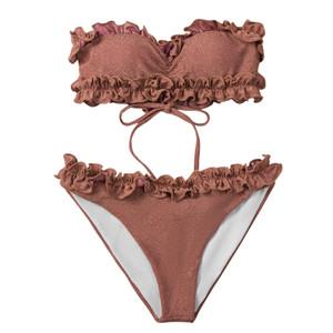 Ruffle Tan Bikini