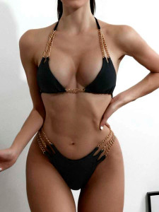 Triple Chain Bikini Black