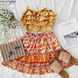 Boho Orange Skirt