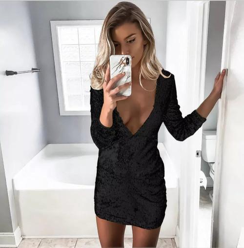 Asia Sequin Dress - Black