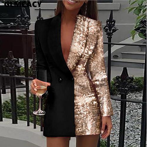 Colorblock Sequin Blazer Dress