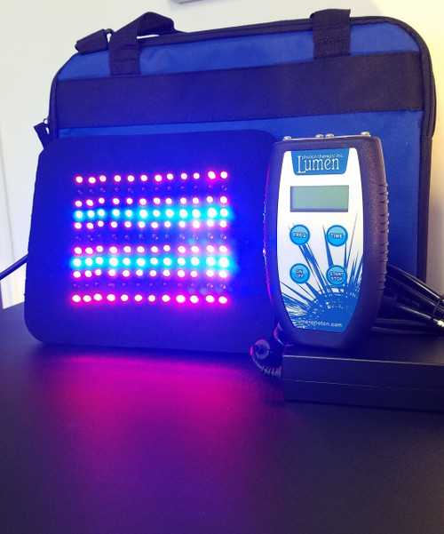 "The Tri- Light 132 Pad is a combination pad with Red, Blue and Infrared LEDs. The neoprene pad is 7.5"" X 8.5"" and comes in a padded  canvas case."